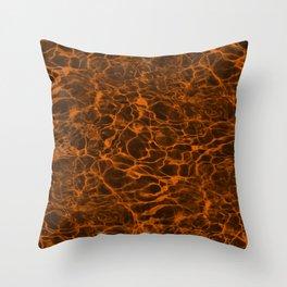 Neon Orange Underwater Wavy Rippling Water Cloudy Flaming Smoke Smokey Water Throw Pillow