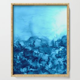 INTO ETERNITY, TURQUOISE Colorful Aqua Blue Watercolor Painting Abstract Art Floral Landscape Nature Serving Tray