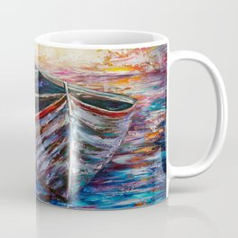 Wooden Boat at Sunrise Coffee Mug