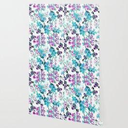 Turquoise Lavender Floral Wallpaper