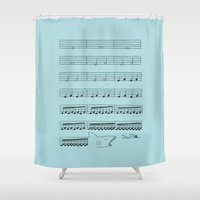 jaws Shower Curtains featuring Jaws by I Love Doodle