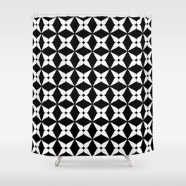 Geometric Pattern 247 (white crosses) Shower Curtain
