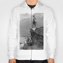 Eagle's Lookout, Blackfoot tribe members, Glacier Park, Montana, 1913 black and white photography Hoody