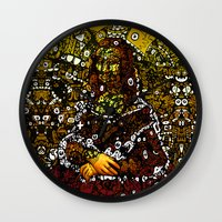 mona lisa Wall Clocks featuring #MONA #LISA by JOHNF