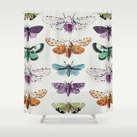 techno Shower Curtains featuring Techno-Moth Collection by Zeke Tucker