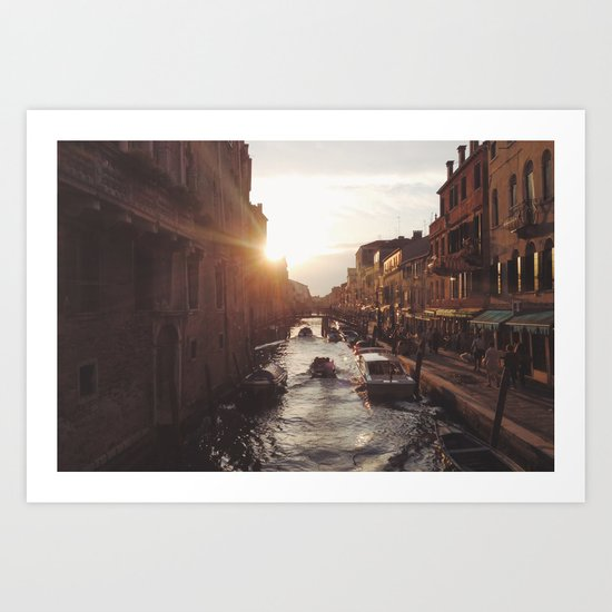 BOAT - STREETS - RIVER - TOWN - LIFE - CULTURE - PHOTOGRAPHY Art Print