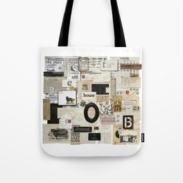 Black and White Vintage Ephemera Collage Tote Bag
