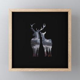 Forest deer family black pattern Framed Mini Art Print