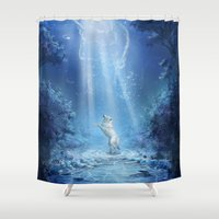 skyrim Shower Curtains featuring A wolf's tale by Liancary