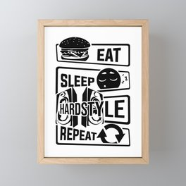 Eat Sleep Hardstyle Repeat - Bass Party Hardbass Framed Mini Art Print
