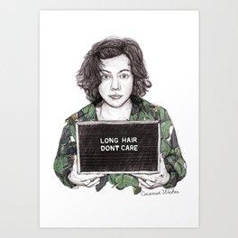 Long Hair Don't Care Art Print