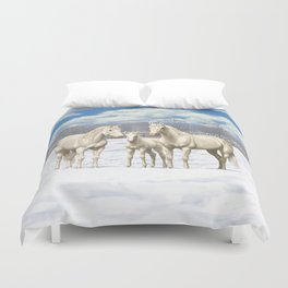 Beautiful White Cremello Quarter Horses in Snow Duvet Cover