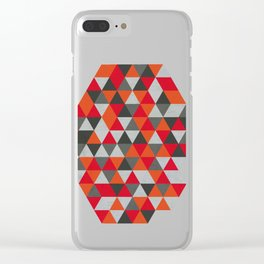 Hot Red and Grey / Gray -  Geometric Triangle Pattern Clear iPhone Case