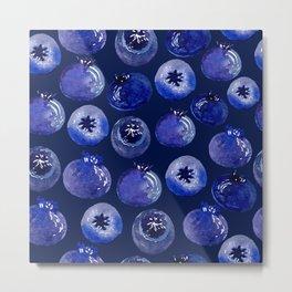 Blueberries On Navy Blue - Watercolor Fruit Print Metal Print