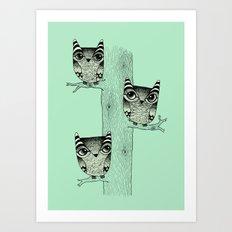 Owls (green) Art Print