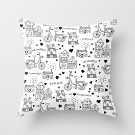 Hello Amsterdam Dutch Hipster travel icons bike and windmill Throw Pillow