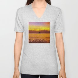 Tropical Sunset and Sailboat Silhouette in South Pacific Unisex V-Neck