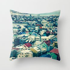 Retro Reykjavik - Iceland Throw Pillow