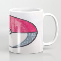 pokeball Mugs featuring Pokeball Zentangle by Amanda Brooks