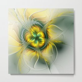 Golden Fantasy Flower, Fractal Art Metal Print