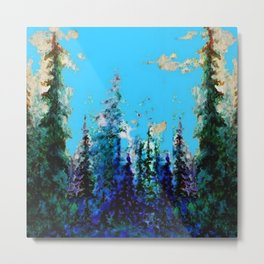 Scenic Blue-Purple Mountain Trees Landscape Metal Print