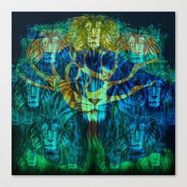 Lion Tree at Night Tapestry Style Canvas Print