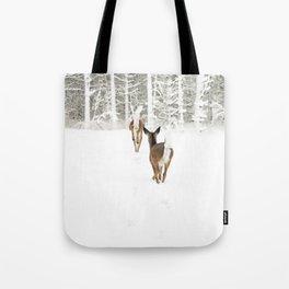 Doe In Winter Tote Bag