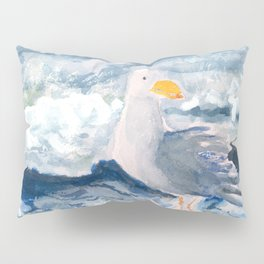 A Watercolor Seagull Named Fred (on Second Cliff in Scituate) Pillow Sham