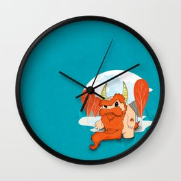 Graggy, the plump Happy Chaos Monster of Scotland Wall Clock