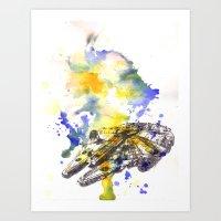 millenium falcon Art Prints featuring Star Wars Millenium Falcon  by idillard