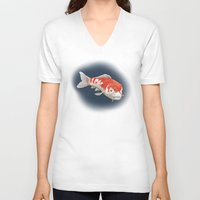 koi V-neck T-shirts featuring Koi by Ken Coleman