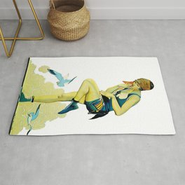 "Coles Phillips Magazine Illustration ""A Quick Dip"" Rug"