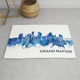 Grand Rapids Michigan Skyline Blue Rug