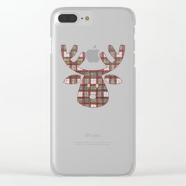 Plaid Reindeer Clear iPhone Case