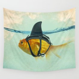 Brilliant DISGUISE - Goldfish with a Shark Fin Wall Tapestry