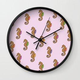 Floating Seahorses // Pink Wall Clock