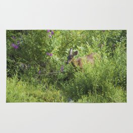 Young Doe Among The Flora painterly Rug