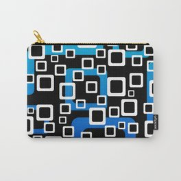 Rectangles White - blue Graphic Design blue black Carry-All Pouch
