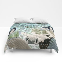 Girls With Pugs Among Roses Comforters
