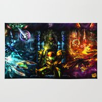 metroid Area & Throw Rugs featuring Metroid: 25 Years by LightningArts