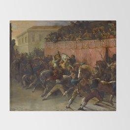 "Théodore Géricault ""Riderless Racers at Rome"" Throw Blanket"