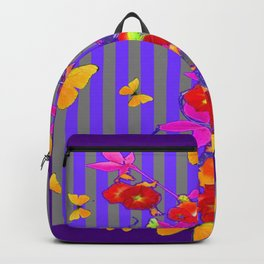 GOLDEN BUTTERFLIES &  RED FLOWER GARDEN Backpack