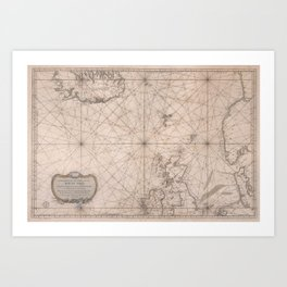 Portolan map of the North Sea, the Norwegian Sea with adjacent coast and countries 1768 Art Print