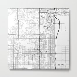 Scottsdale Map, USA - Black and White Metal Print