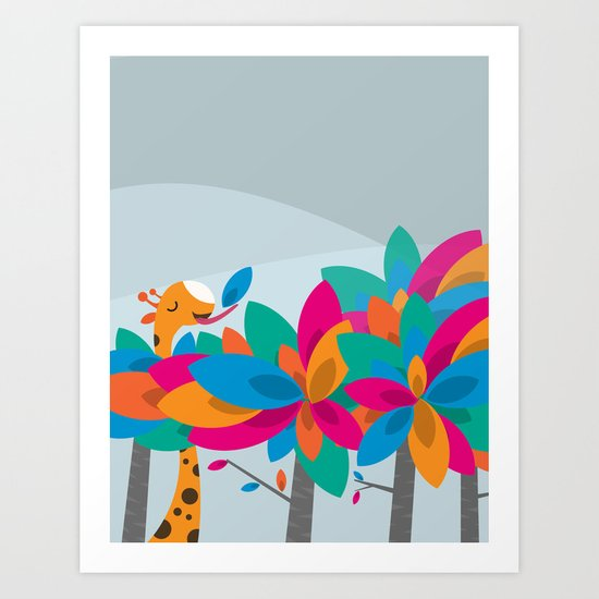 Orange and Trees Art Print