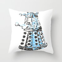 dalek Throw Pillows featuring Dalek Graffiti by spacemonkey89