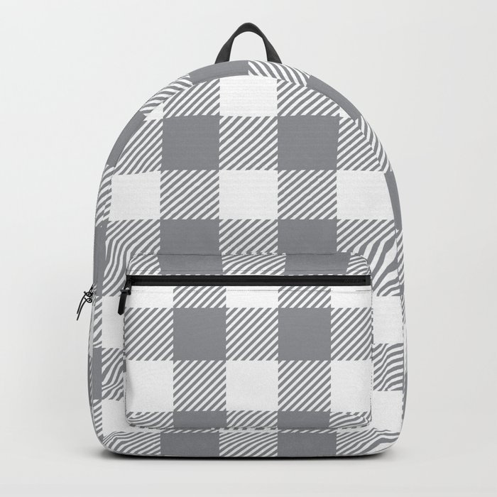 Buffalo Plaid - Grey & White Rucksack