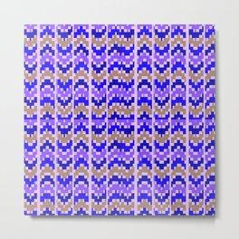 Purple & brown Zig Zag Pixelated Bright Pattern Metal Print