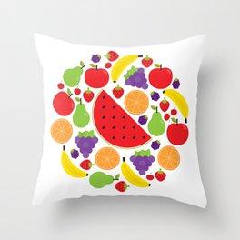 Colorful Fruit Circle Throw Pillow
