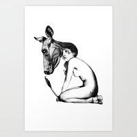 taurus Art Prints featuring Taurus by Carolina Espinosa